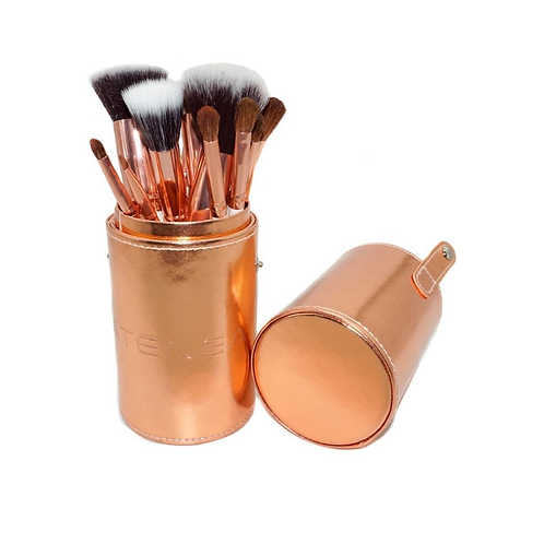 ATENEA SET BROCHAS MAQUILLAJE ROSE GOLD - 12PCS