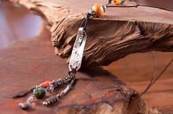 silver clay/orange bead neacklace