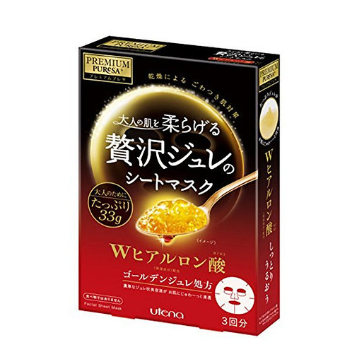 Utena - Premium Puresa 透明質酸玫瑰黃金凝膠面膜 - 3piece (平行進口貨)