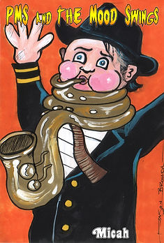 Garbage Pail Kid pms and the moodswings saxophone micah saccomanno by jason brower