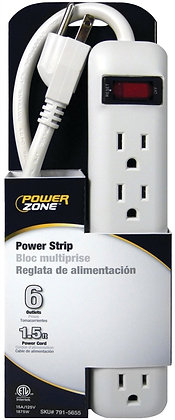 Power Outlet Strip, 125 V, 15 A, 6 Outlet