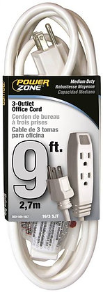 Office Cord, 3 Outlet, White , Size Ft 9