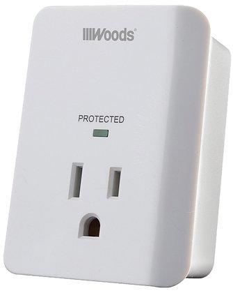Woods Outlet Surge Protector Strip, 120 V, 15 A, 60 Hz, 1 Outlet