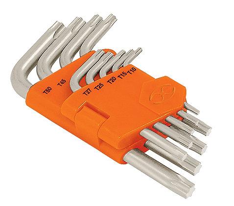 9-pc Torx Key Set, Folding Plastic Holder