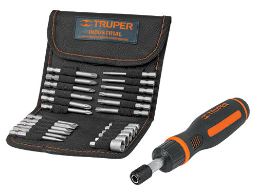 Ratcheting Screwdriver, 18-bit and 6-Socket Set
