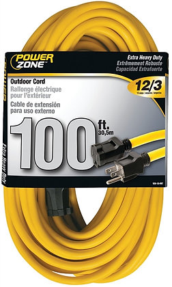 SJTW Extension Cord, 12/3, 100 ft, Double