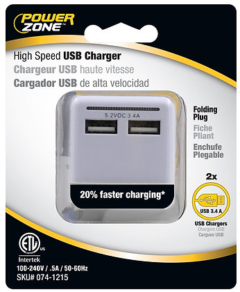 PowerZone ORUSB340 Outlet Charger With Light, 3.4 A