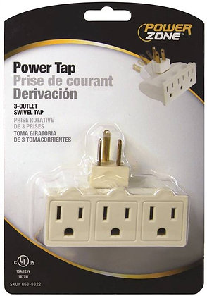 Grounded Swivel Power Tap, 125 V, 15 A, 3 Outlet