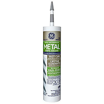GE GE5050 Silicone 2+ Specialty Silicone Caulk 10.1 oz. Tube Metallic Gray
