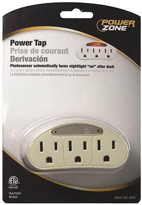 Outlet Tap, 125 V, 15 A, 3 Outlet, White