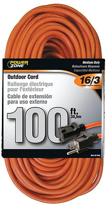 SLTW Orange Outdoor Extension Cord, 16/3, 100 ft, Double
