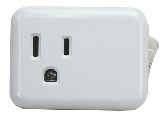 Outlet Tap Cube With On-Off Switch, 4.6 in H x 4.6 in W x 2-1/2 in D