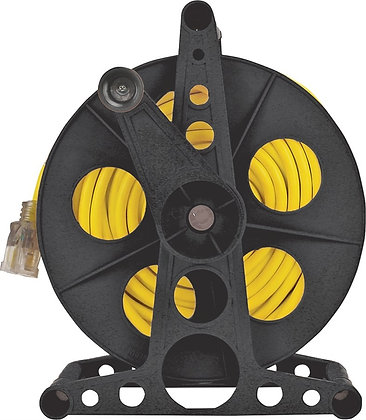 Handle Driven Cord Storage Reel With Stand, 100 ft, Plastic, Black