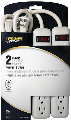 Power Outlet Strip, 125 V, 15 A, 6 Outlet, White