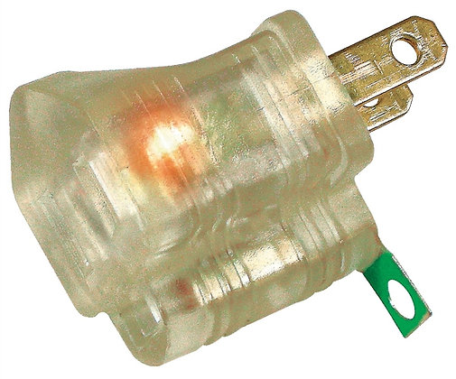 3-To-2 Ground Adapter With Light, 6-3/4 in H x 3.9 in W x 1.2 in D