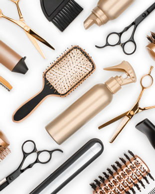 white and gold hair dressing tools photo