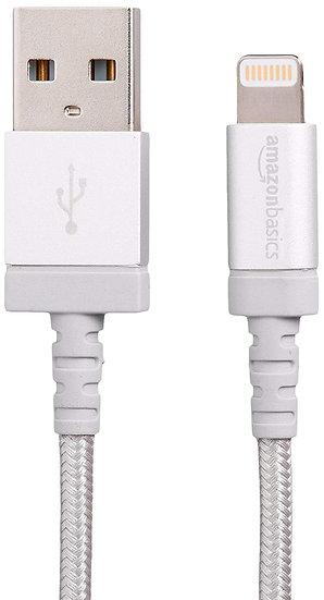 AmazonBasics USB A Apple MFi Certified - Silver (3 Feet/0.9 Meter)