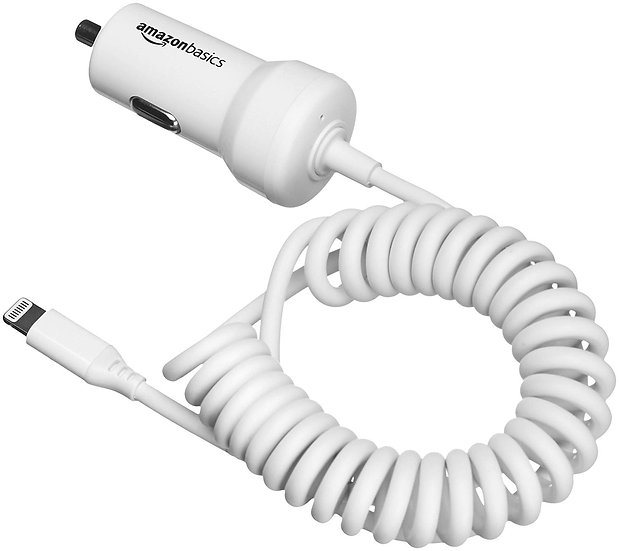 AmazonBasics Coiled Cable Lightning Car Charger - 5V 12W - 1.5 Foot
