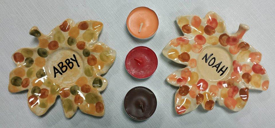Preschool Fingerprint Leaf Tealight Hold