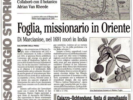 Quando la storia si fa con approssimazione (a proposito di Matteo Foglia missionario in Oriente)
