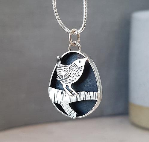 Silver Wren pendant - w/s