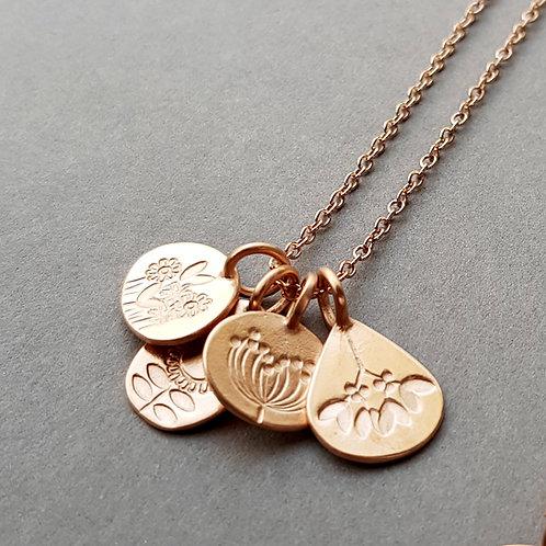 Rose gold vermeil four seasons cluster necklace