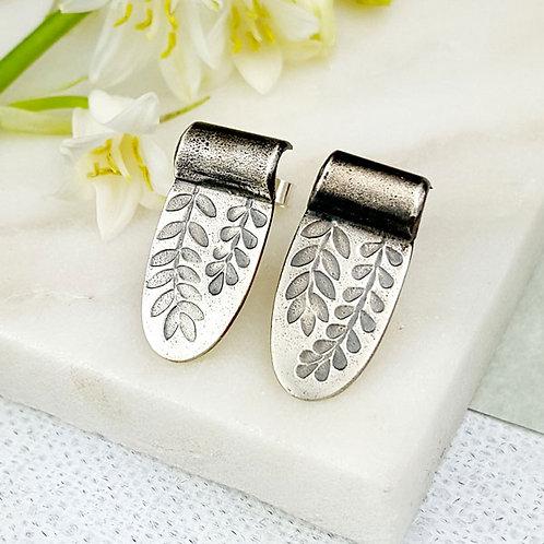 oxidised silver stud earrings