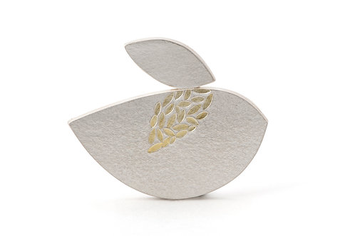 reflection brooch in silver and gold leaf