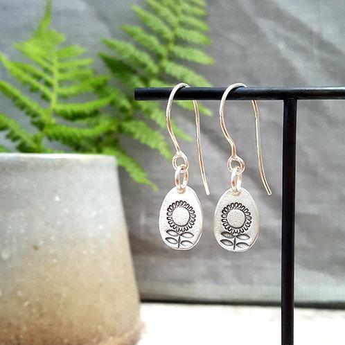 solid silver sunflower earrings