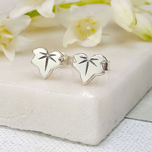 tiny ivy leaf stud earrings