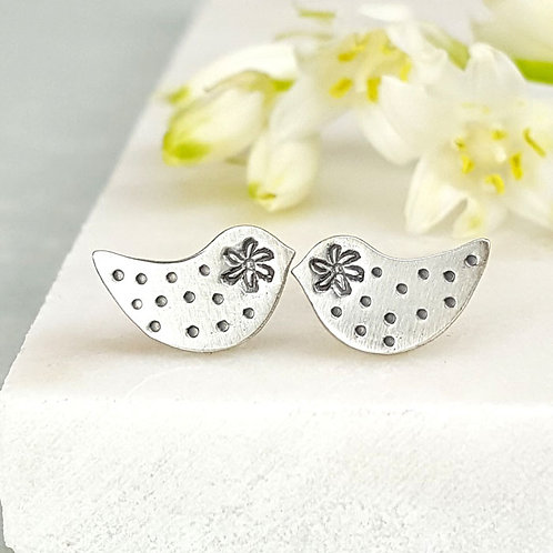 Cute little silver bird studs