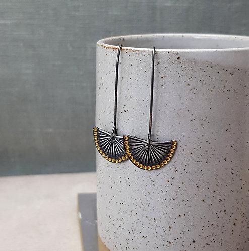 NEW - Oxidised silver and gold fan drop earrings