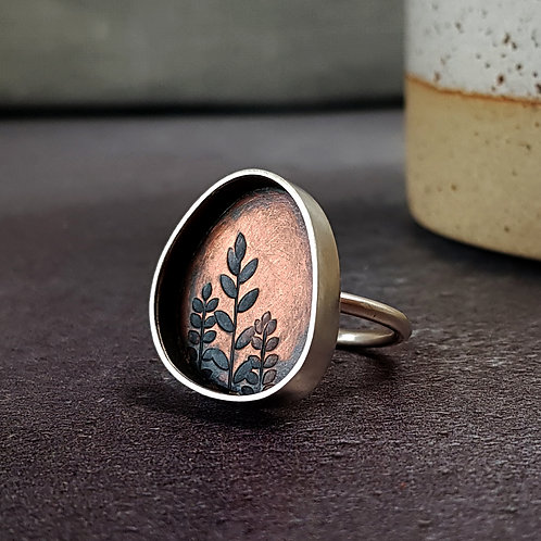 Copper and silver box ring, vertical