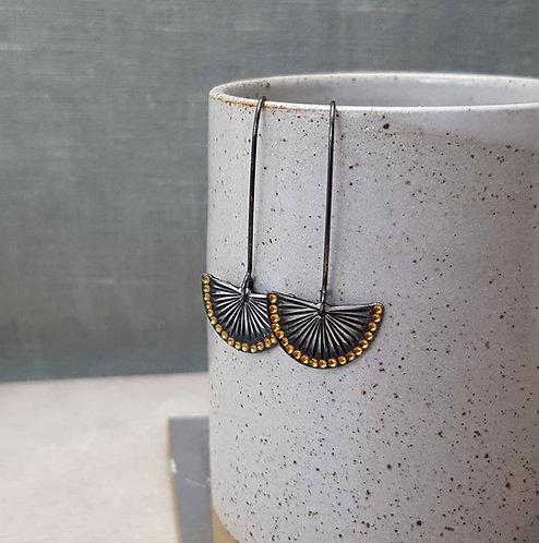 oxidised silver and gold fan drop earrings