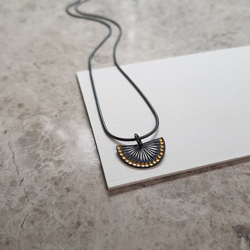 blackened silver and gold small pendant