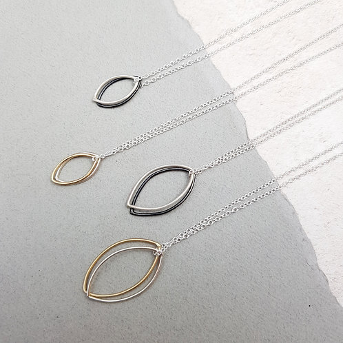 NEW - Double wire leaf pendant from £18 - W/S