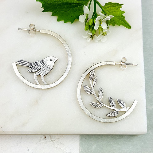 Silver hoop studs with birds - w/s