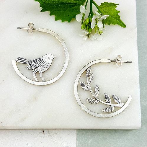 Mismatched silver hoop stud earrings
