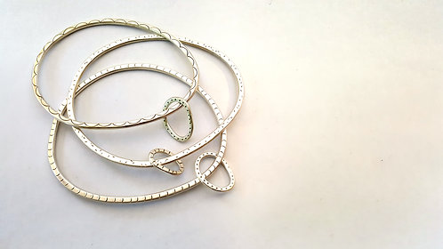 NEW - asymmetric patterned hoop bangle with patterned hoop charm W/S