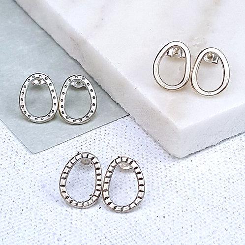 Solid silver hoop stud earrings