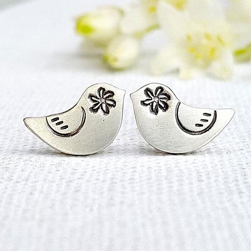 cute solid silver bird stud earrings