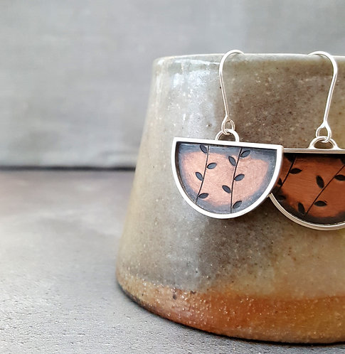 Copper and silver earrings - w/s