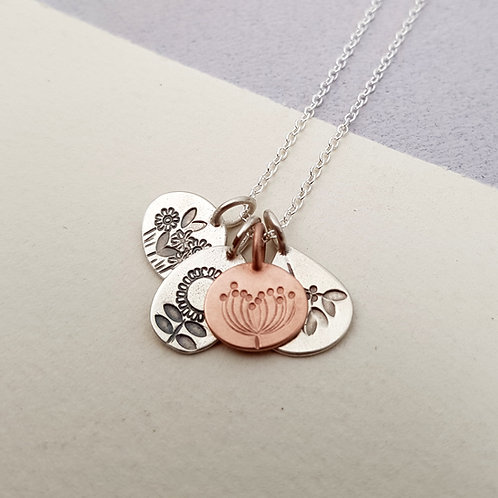 Solid Rose Gold and Silver Four Seasons Necklace