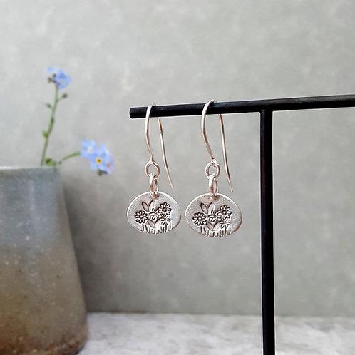 solid silver flower dangle earrings