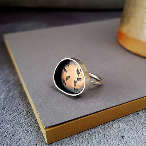 handmade silver and copper ring