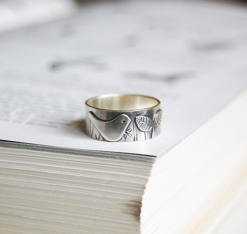 cute silver bird ring