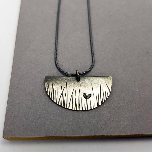 NEW - silver ombre D shape pendant - W/S