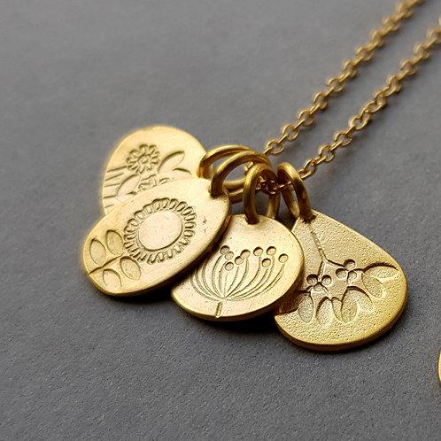 Gold vermeil four seasons cluster necklace