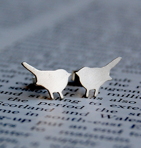 Tiny solid sterling silver bird stud earrings