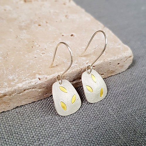 silver and gold leaf dangle earrings